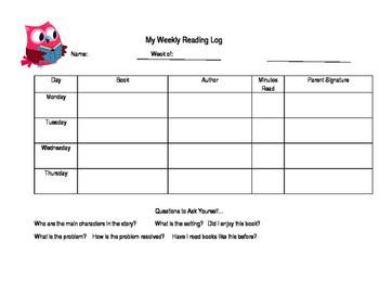 Weekly Reading Log, Monday-Thursday
