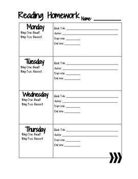 Reading Log Monday-Thursday With and Without Parent Signature Space