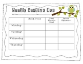 Weekly Reading Log Owls