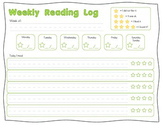 Weekly Reading Log- Primary Lined