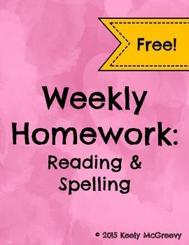Weekly Reading Log: Reading & Spelling