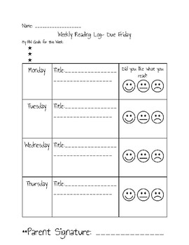 Weekly Reading Log; Student-Friendly!