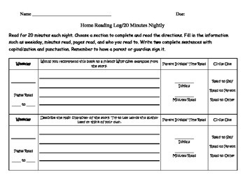 Weekly Reading Log Version 1 (common core reading strategies for narrative text)