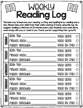 Weekly Reading Log Worksheet