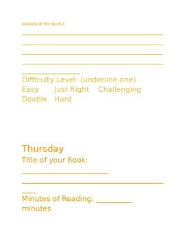 Weekly Reading Log and Book Activities-EDITABLE