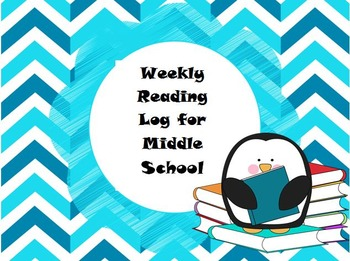 Weekly Reading Log for Middle Grades