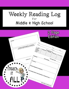 Weekly Reading Log for Middle & High School