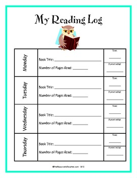 Weekly Reading Log for Students