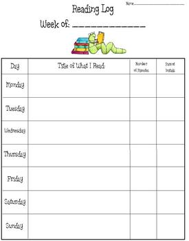 Weekly Reading Log for Students - Variety of 4