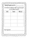 Weekly Reading Log for primary grades