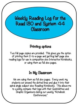 Weekly Reading Log for the Read 180 and System 44 Classroom