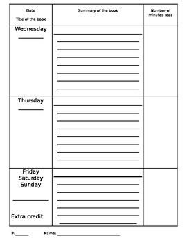 Weekly Reading Log - multiple options