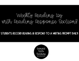 Weekly Reading Log w/ Reading Response Section! -Supports