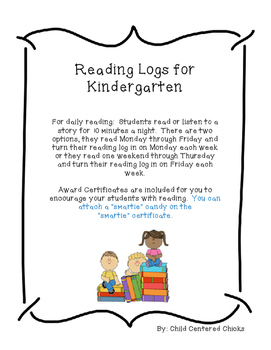 Kindergarten Weekly Reading Log with Award Certificates