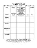 Weekly Reading Log with Comprehension Skill
