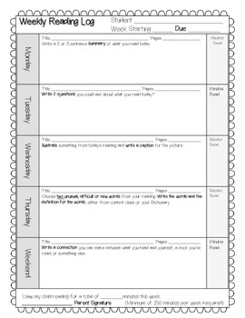 Weekly Reading Log with Comprehension and Vocabulary Activities