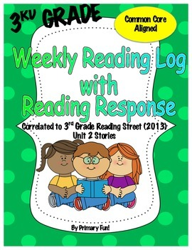 Reading Logs with Reading Response - READING STREET (2013) - UNIT 2 3RD GRADE