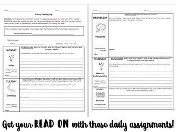 Weekly Reading Log with Reading Strategy Icons