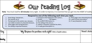 Weekly Reading Log with prompts