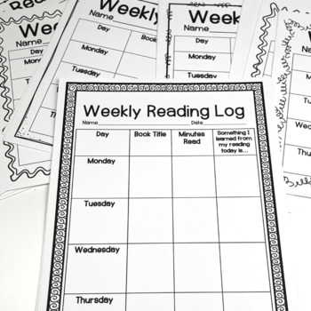 Weekly Reading Logs Four Different Styles Elementary