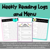 Weekly Reading Logs and Response Menu - Editable Menus included