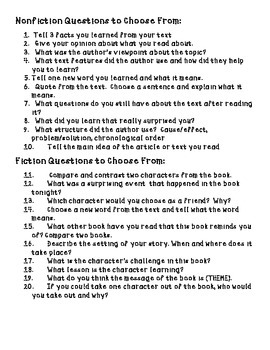 Weekly Reading Logs Fiction & Nonfiction Common Core 4th and 5th Grades