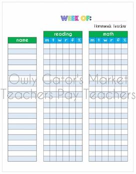 Weekly Reading & Math Homework Tracking Chart Bundle - Students & Whole Class