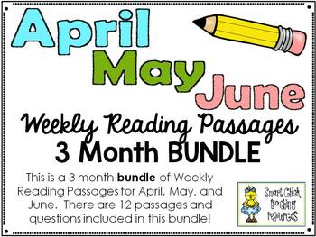 Weekly Reading Passages BUNDLE for April, May, and June - 12 Passages