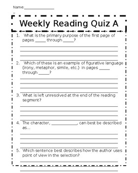 Weekly Reading Quiz A