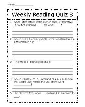 Weekly Reading Quiz B