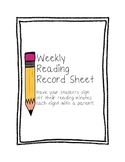 Weekly Reading Record Sheet