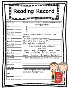 Weekly Reading Records by The 2 Teaching Divas