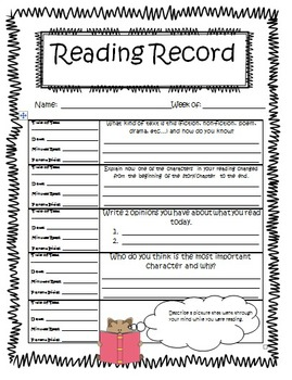 Weekly Reading Records for Fiction by The 2 Teaching Divas