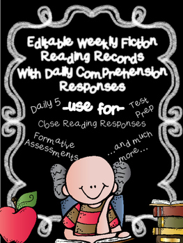 EDITABLE SKILLS BASED Weekly Reading Logs LITERATURE (CCSS RL Question Stems)
