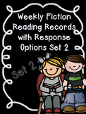 Editable Weekly Fiction Reading Records with Comprehension Options SET 2-CCSS-