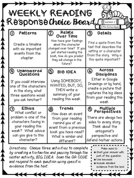 Weekly Reading Response Choice Boards with QR CODES (FICTION VERSION)