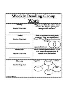 Weekly Reading Response Group Work