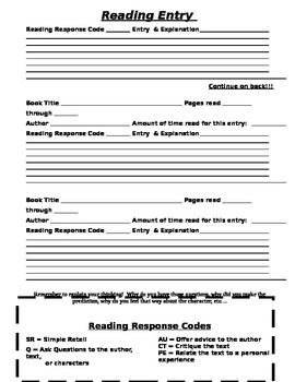 Weekly Reading Response Homework Sheet