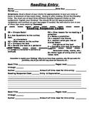 Weekly Reading Response Homework Sheet
