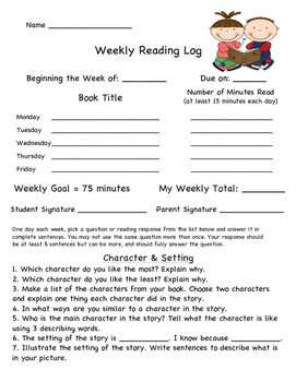 Weekly Reading Response Log