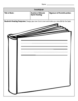 Weekly Reading Response Log - Challenge Version (for young students)