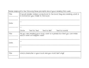 Weekly Reading Response Logs