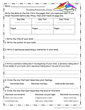 Weekly Reading Response Printables