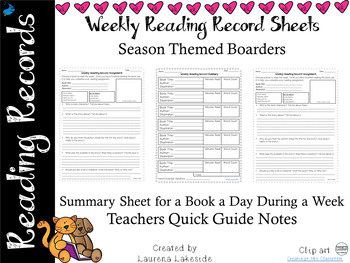 Weekly Reading Summary and Comprehension Record: Season Themed