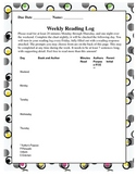 Weekly Reading log with reading response and rubric