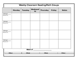 Weekly Reading or Math Group Chart