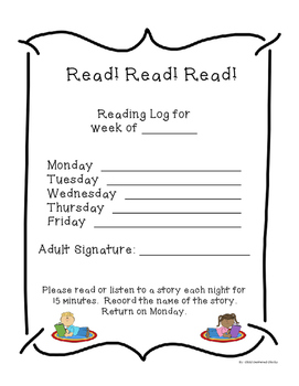 Kindergarten and 1st Grade Weekly Reading Log with Award Certificates