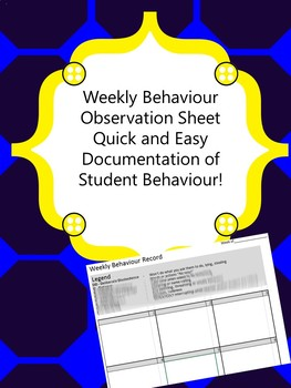 Weekly Record of Behavior Tracking Sheet and Observation Templates