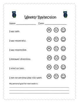 Weekly Reflection Form- Owl Theme