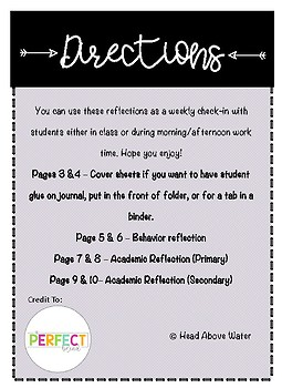 Weekly Reflection Sheet - Behavioral and Academic